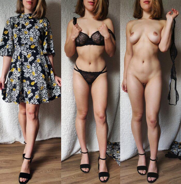 Chica elegante desnuda por partes